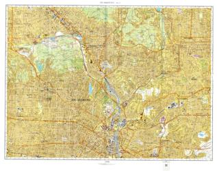 Los Angeles, California, Cold War Map, Sheet 5 of 12 by USSR Ministry of Defense