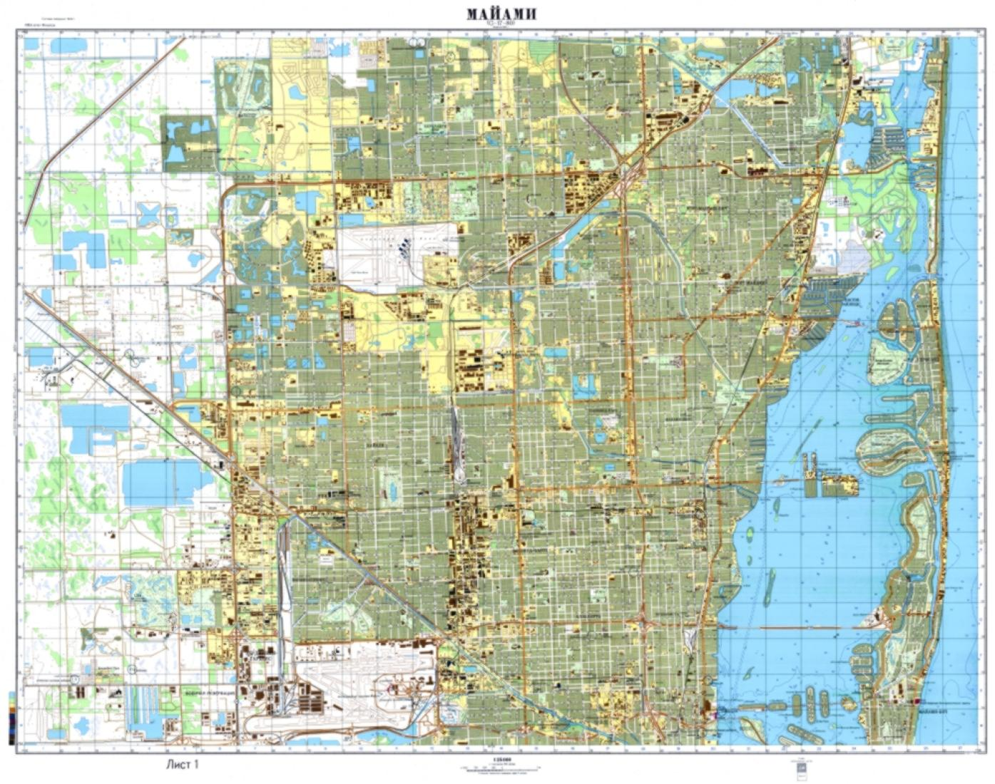 Miami Florida Map.Miami Florida Cold War Map Sheet 1 Of 2 By Ussr Ministry Of Defense
