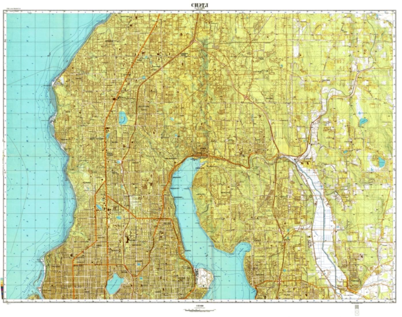 Seattle, Washington, Cold War Map, Sheet 1 of 3 by USSR Ministry of ...