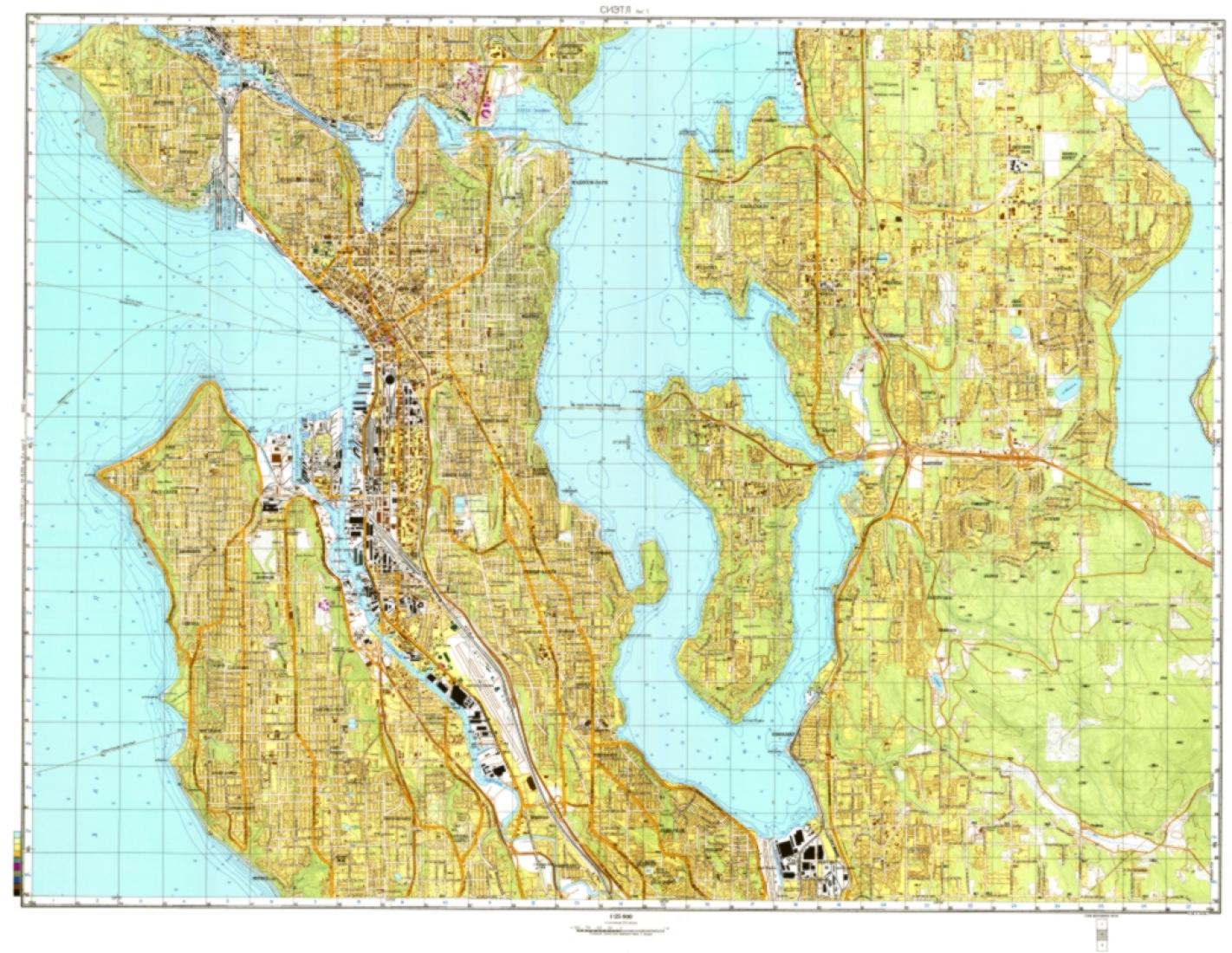 Seattle Washington Cold War Map Sheet 2 Of 3 By Ussr Ministry Of