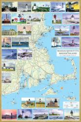 Massachusetts and Rhode Island Lighthouses Map - Laminated Poster by Bella Terra Publishing by Bella Terra Publishing LLC