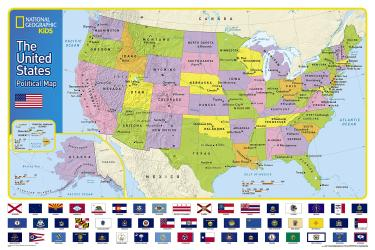 The United States for Kids, Boxed, National Geographic Reference Map by National Geographic Maps