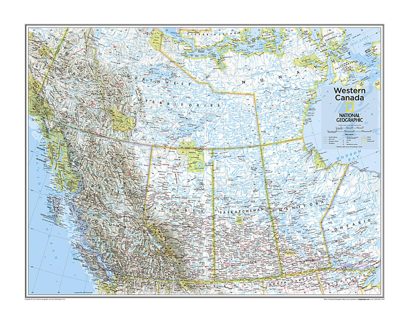 Canada Map National Geographic Western Canada   Map from National Geographic Atlas of the World