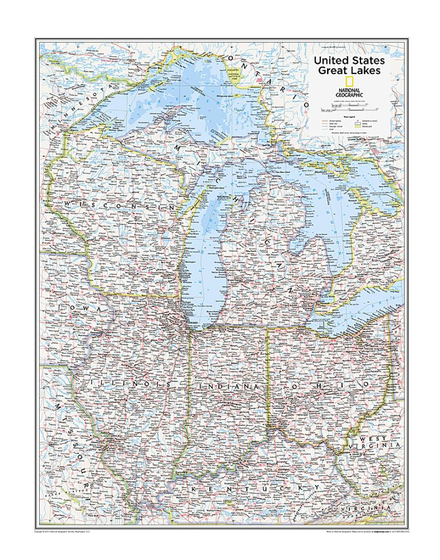 Great Lakes U S Map From National Geographic Atlas Of The World 10th Edition By National Geographic Maps