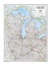 Great Lakes U.S. - Map from National Geographic Atlas of the World 10th Edition by National Geographic Maps