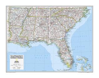 Southeastern U.S. - Map from National Geographic Atlas of the World 10th Edition by National Geographic Maps
