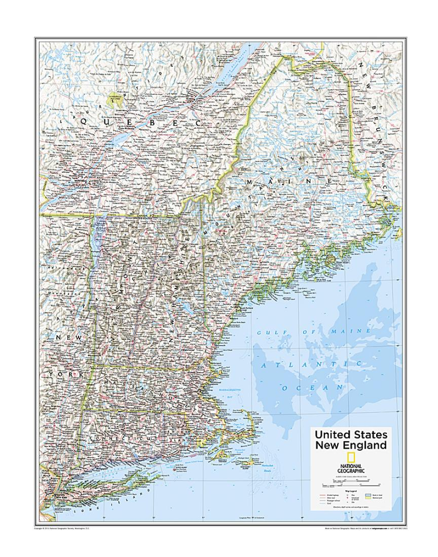 Picture of: New England U S Map From National Geographic Atlas Of The World 10th Edition By National Geographic Maps