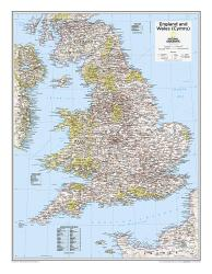 England and Wales (Cymru) - Map from National Geographic Atlas of the World 10th Edition by National Geographic Maps