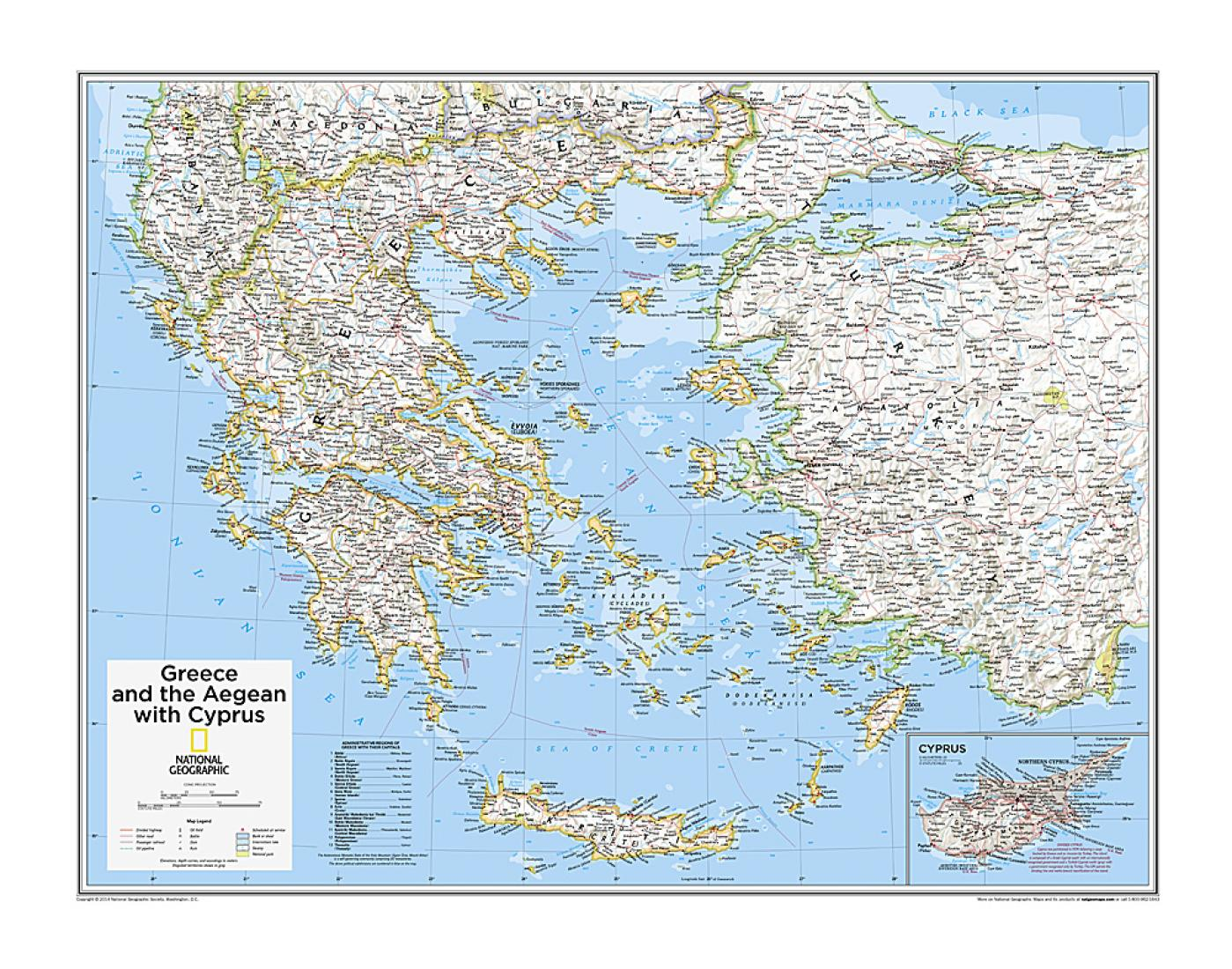 Picture of: Greece And The Aegean With Cyprus Map From National Geographic Atlas Of The World 10th Edition By National Geographic Maps