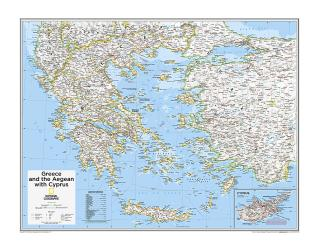 Greece and the Aegean with Cyprus - Map from National Geographic Atlas of the World 10th Edition by National Geographic Maps