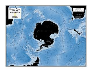 Ocean Floor around Antarctica - Map from National Geographic Atlas of the World 10th Edition by National Geographic Maps