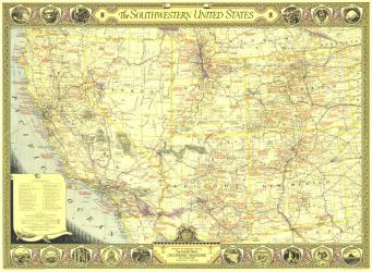 1940 Southwestern United States Map by National Geographic Maps