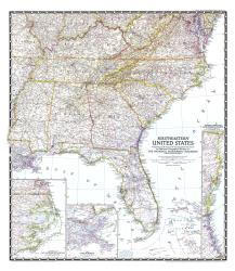 1947 Southeastern United States Map by National Geographic Maps