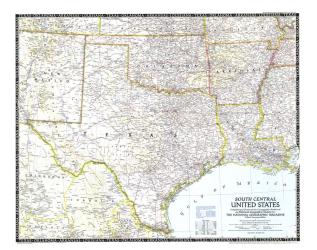 1947 South Central United States Map by National Geographic Maps