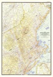 1955 Map of New England with Descriptive Notes by National Geographic Maps