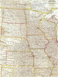 1958 North Central United States Map by National Geographic Maps