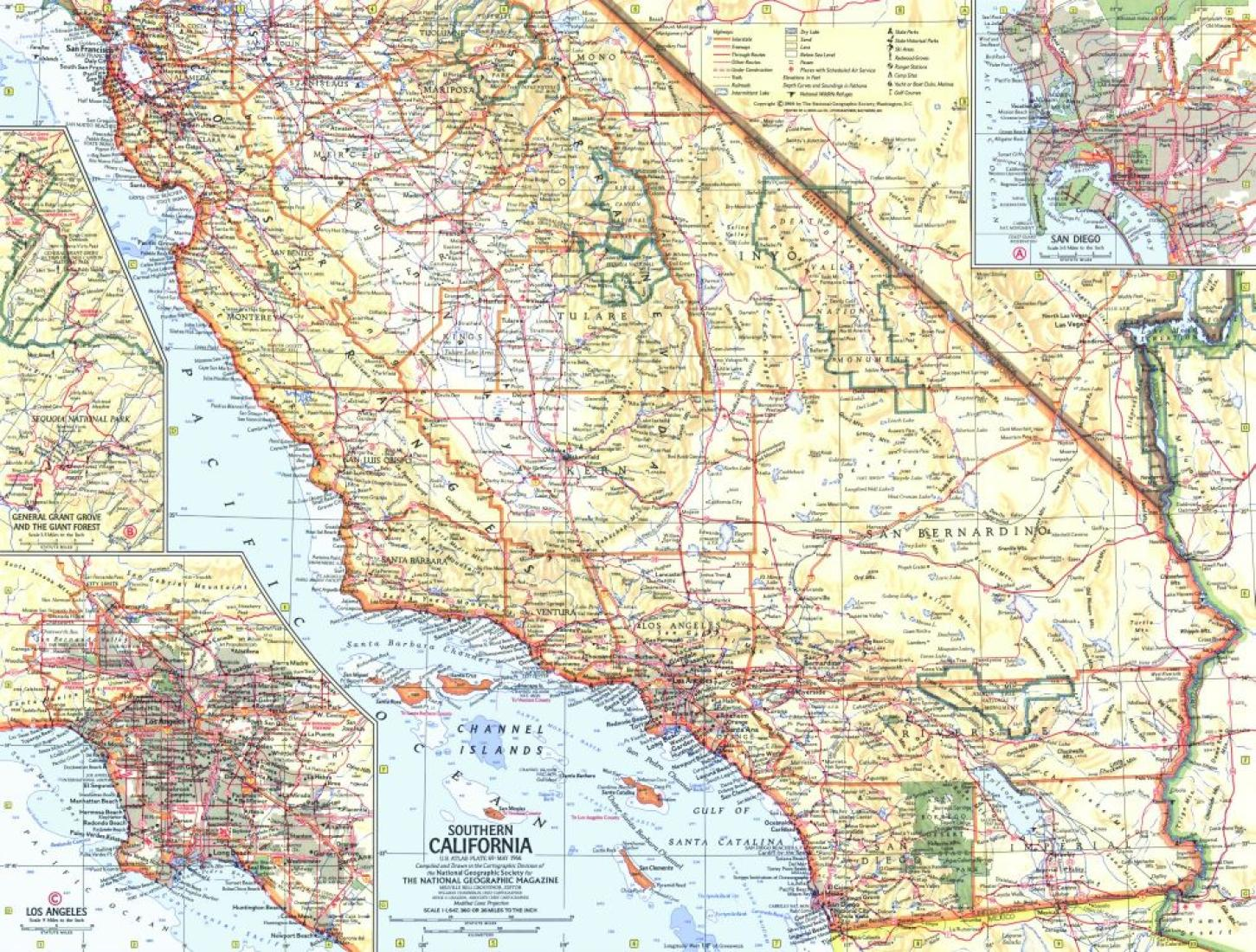 Picture of: 1966 Southern California Map By National Geographic Maps