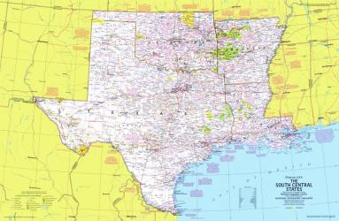 1974 Close-up USA, South Central States Map by National Geographic Maps