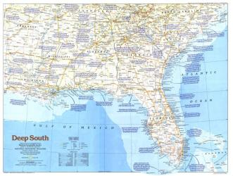 1983 Deep South Map by National Geographic Maps