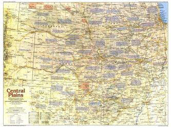 1985 Central Plains Map Side 1 by National Geographic Maps