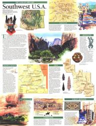 1992 Southwest, USA Map, Land of Open Sky by National Geographic Maps