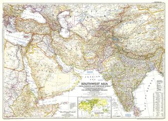 1952 Southwest Asia Map by National Geographic Maps