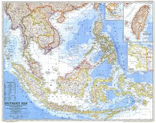 1968 Southeast Asia Map by National Geographic Maps