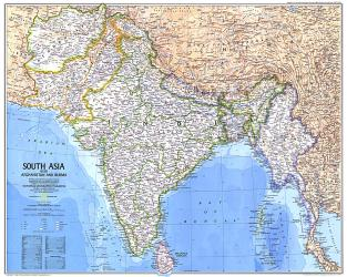 1984 South Asia With Afghanistan and Burma Map by National Geographic Maps