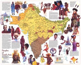 1984 Peoples of South Asia Map by National Geographic Maps