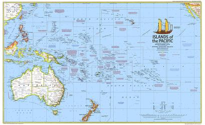 1974 Islands of the Pacific Map by National Geographic Maps