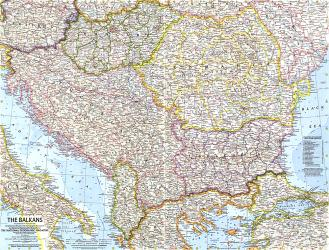 1962 The Balkans Map by National Geographic Maps