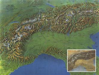 1965 Alps, Europes Backbone Map by National Geographic Maps