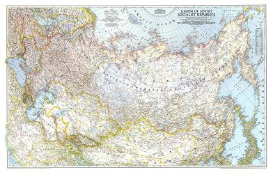 1944 Union of Soviet Socialist Republics 1938-1944 Map by National Geographic Maps
