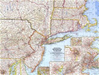 1962 United States Washington to Boston Map by National Geographic Maps
