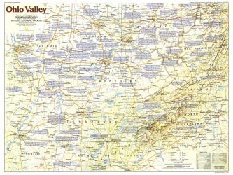 1985 Ohio Valley Map by National Geographic Maps
