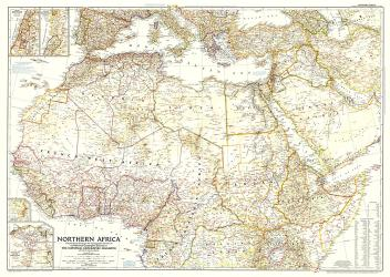 1954 Northern Africa Map by National Geographic Maps