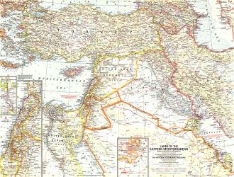 1959 Lands of the Eastern Mediterranean Map by National Geographic Maps