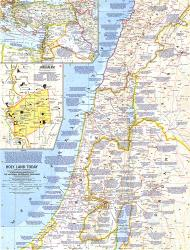 1963 Holy Land Today Map by National Geographic Maps