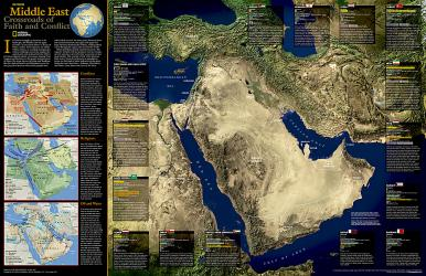 2002 Middle East, Crossroads of Faith and Conflict by National Geographic Maps