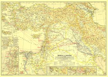 1938 Bible Lands, and the Cradle of Western Civilization Map by National Geographic Maps