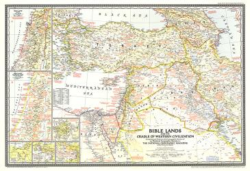 1946 Bible Lands, and the Cradle of Western Civilization Map by National Geographic Maps