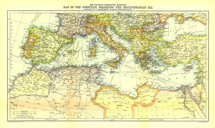 1912 Countries Bordering the Mediterranean Sea Map by National Geographic Maps