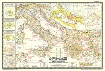 1949 Classical Lands of the Mediterranean Map by National Geographic Maps