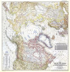 1949 Top of the World Map by National Geographic Maps