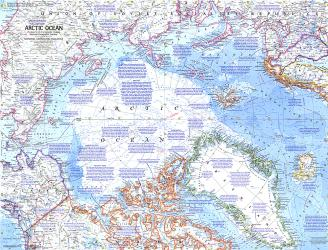 1971 Arctic Ocean Map by National Geographic Maps
