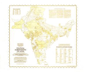 1946 Political Subdivisions of India Map by National Geographic Maps