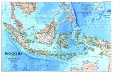 1996 Indonesia Map by National Geographic Maps