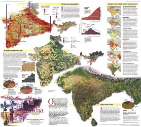 1997 India Theme Map by National Geographic Maps