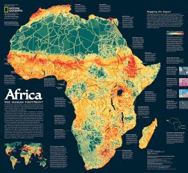2005 Africa, the Human Footprint Map by National Geographic Maps