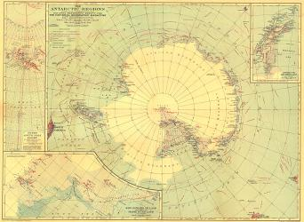 1932 Antarctic Regions Map by National Geographic Maps